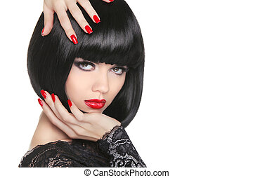 Manicured nails. Beauty girl portrait. Red lips. Back short...