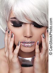 Manicured nails. Eye make up. Fashion Blond Girl. Beauty Portrait Woman. White Short Hair. Face Close-up.