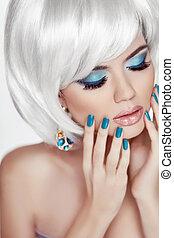Manicured nails. Professional makeup. Blond woman Portrait. White short hair style. Fashion Beauty Photo. Sensual lips.
