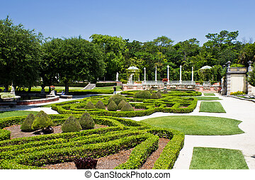Manicured ornamental garden