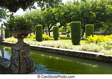 Manicured ornamental garden