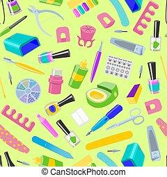 manicuring, nail-file, pedicure, padrão, manicured, mãos, nail-bar, seamless, ilustração, acessório, manicurist, vetorial, manicure, fundo, polaco, tesouras, unhas, ferramentas, ou