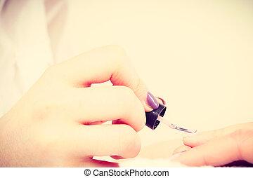 manicurist, cliente, cima, hands., fim