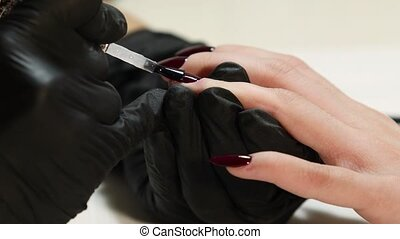 Manicurist doing manicure for client at beauty salon - painting on the nail. Care, beautician.