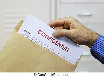 maniement, documents, confidentiel, homme