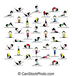 maniertjes, mensen, yoga, jouw, beoefenen, ontwerp, 25