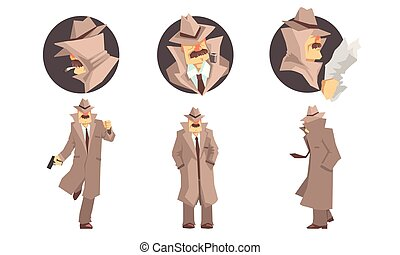 maniertjes, mustache, illustratie, achtergrond, vector, anders, detective, witte , vrijstaand, set, oud, particulier
