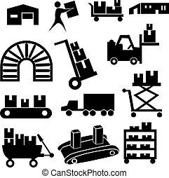 manifatturiero, set, icona