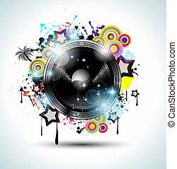 manifesti, fondo, elements., club, discoteca, internazionale, ballo, ideale, disegno, pubblicità, lotto, volantini, musica, evento, panels.