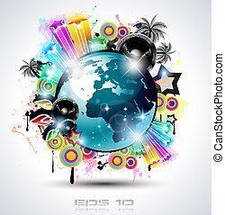 manifesti, fondo, elements., club, discoteca, internazionale...