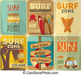 manifesti, surfing, collezione