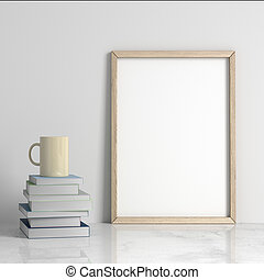 manifesto, 3d, interpretazione, interno, mockup