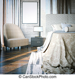 manifesto, 3d, vuoto, bedroom., interpretazione