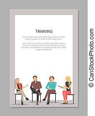 manifesto, addestramento, riunione, persone affari