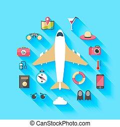 manifesto, aeroplano, concetto, viaggiare, fondo