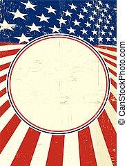 manifesto, americano, cerchio, cornice