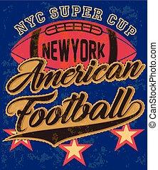 manifesto, americano, grafico, tee, football