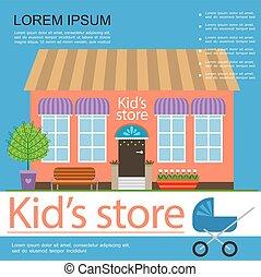 manifesto, bambini, colorito, negozio