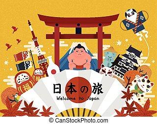 manifesto, bello, turismo, giapponese