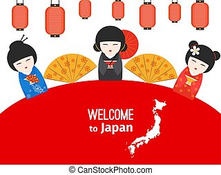 manifesto, benvenuto, giapponese, simboli, vettore, disegno, giappone