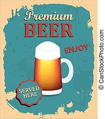 manifesto, birra, premio, retro, disegno