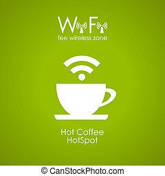 manifesto, caffè, disegno, internet