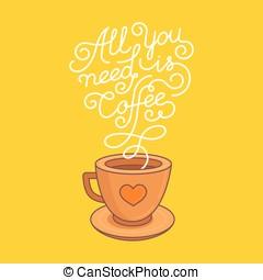manifesto, caffè, vettore