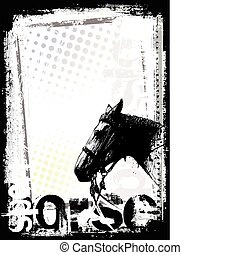 manifesto, cavallo, fondo