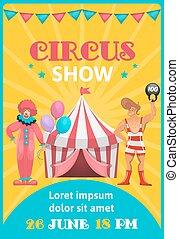 manifesto, circo, colorito, mostra