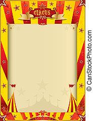 manifesto, circo, grunge, rosso giallo