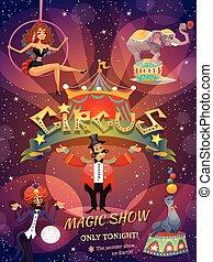 manifesto, circo, mostra