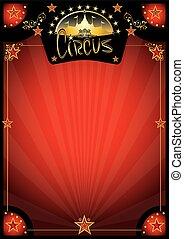 manifesto, circo, retro, rosso