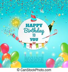 manifesto, compleanno, Felice, fondo, celebrazione