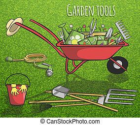 manifesto, concetto, attrezzi, giardino