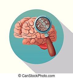 manifesto, cornice, ricerca, cervello, closeup, ombreggiatura, circolare