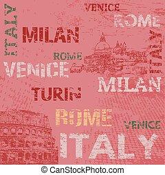 manifesto, disegno, italia, tipografico