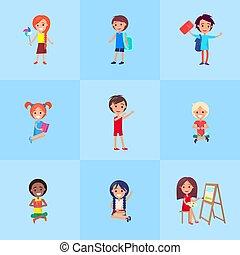 manifesto, esposizione, emozioni, giocoso, vettore, bambini