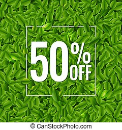 manifesto, foglie, verde, vendita, fondo