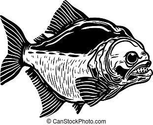 manifesto, fondo., elemento, piranha, emblem., illustrazione...