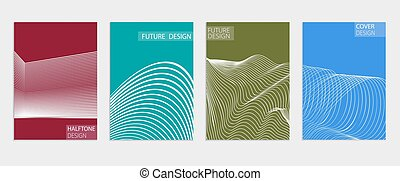 manifesto, fresco, coperchi, halftone, vettore, gradients., futuro, template., minimo, design.