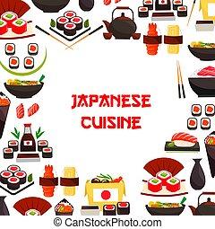 manifesto, frutti mare, sushi, giapponese, vettore, in crosta