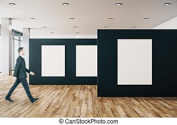 manifesto, galleria, uomo affari