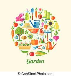 manifesto, giardino, colorato