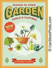 manifesto, giardino, retro