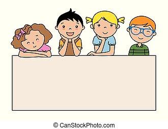 manifesto, gruppo, bambini