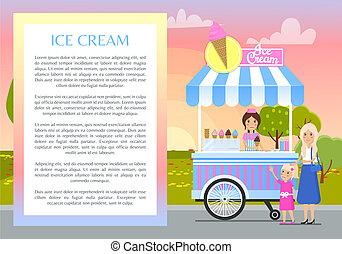 manifesto, illustrazione, vettore, ghiaccio, testo, crema