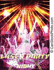manifesto, laser, festa, folla, discoteca