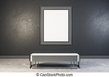manifesto, moderno, galleria, vuoto
