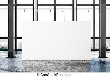 manifesto, moderno, soffitta, vuoto, galleria