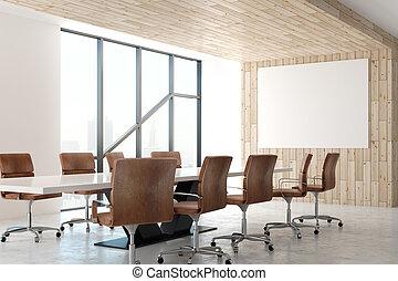 manifesto, moderno, stanza riunione